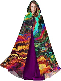 Unisex Hooded Cloak Cloud Psychedelic Art Medieval Cape Robe for Halloween Christmas Cosplay Party Costume Supplies