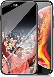 RUIWEI RWNO-291 Kanye West Designed for iPhone 7 Plus/8 Plus Case,Tempered Glass Back Cover and Black Anti-Scratch Shock Absorption Cover Case