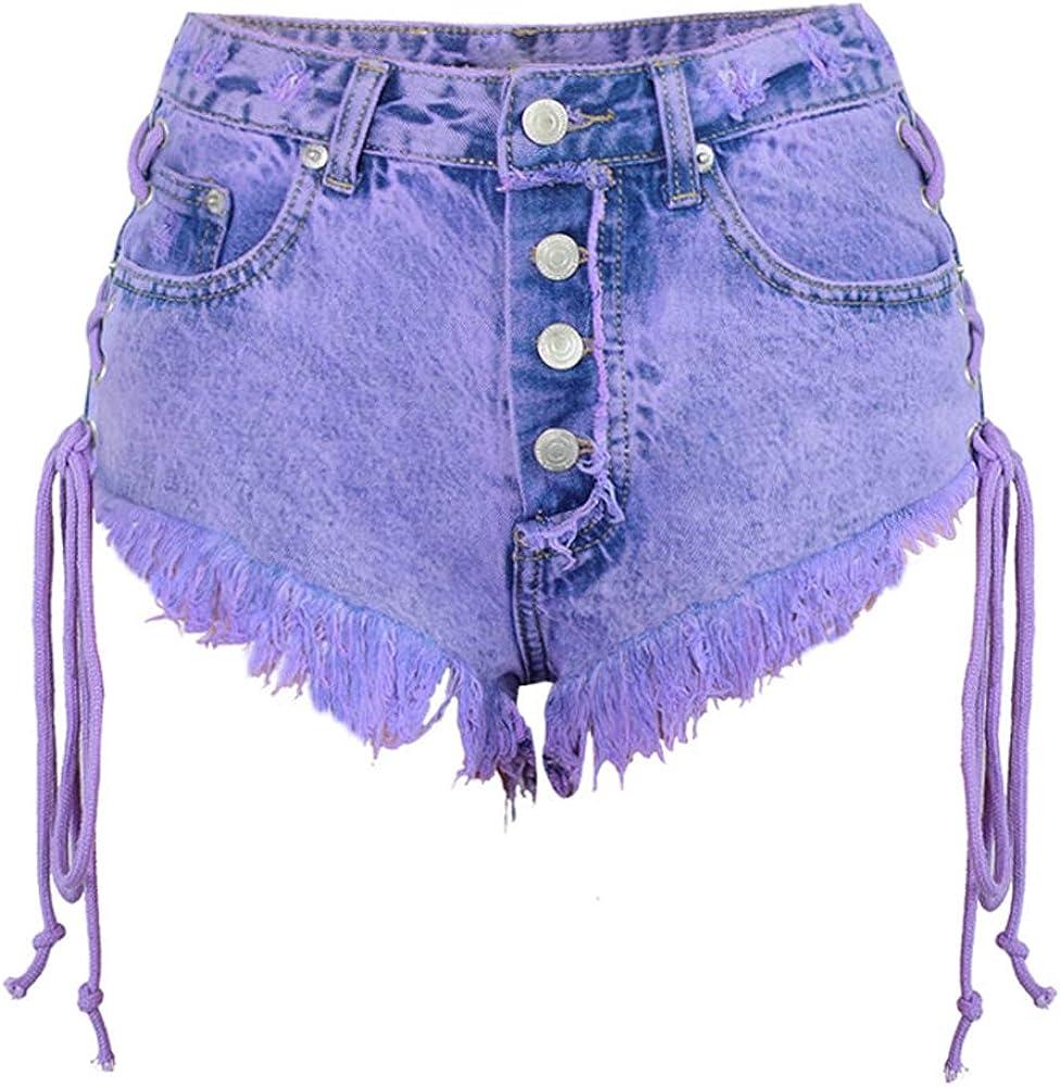 chouyatou Women's Sexy Side Lace Up Frayed Raw Hem Beach Summer Denim Shorts