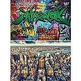 GREAT ART Set de 2 Posters XXL – Nueva York Graffiti - City & Comic Street Art USA Gran Manzana Rascacielos East River deoración para la habitación de niños Deco de Pared (140 x 100cm)