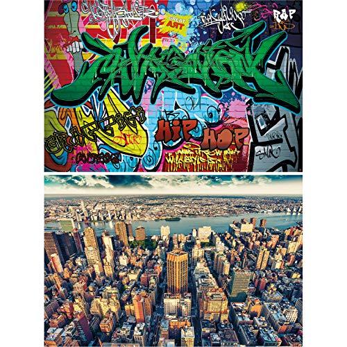 GREAT ART Set di 2 Poster XXL – New York Graffiti - City & Comic Street Art USA Grattacieli Big Apple Immagini di East River Decorazione Murale per la Camera dei Bambini (140 x 100cm)