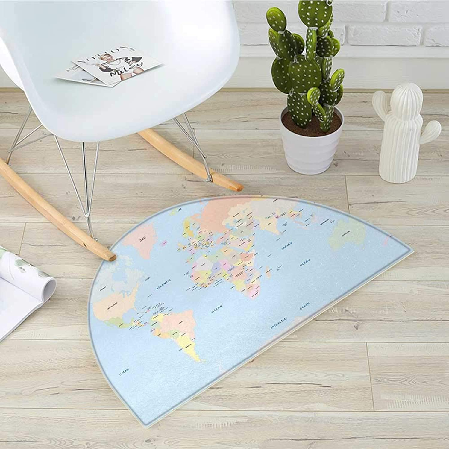 Map Half Round Door mats Old Fashioned Classical Political World Map Administration Theme Borders Countries Bathroom Mat H 31.5  xD 47.2  Multicolor