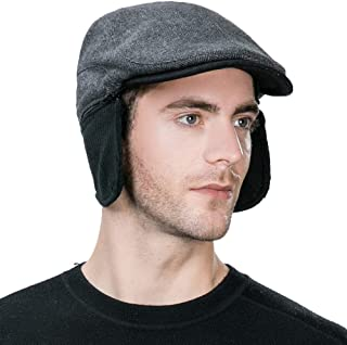 Jeff & Aimy Wool Herringbone Tweed Winter Irish Ivy Flat Cap with Ear Flaps for Men Trapper Hunting Hat