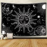 F-FUN SOUL Tapiz de sol y luna, grande 203,2 x 152,4 cm, algodón suave, Mandala blanco y negro cielo estrellado, tapices para colgar en la pared para sala de estar, recámara, decoración de banner...