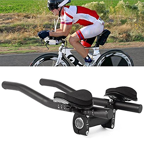klkl Bicycle Rest Handle Mountain Bike Bicycle Alloy Rest Handle Bar Clip On Tri Bars (Black)