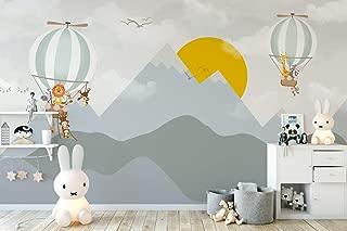 Murwall Kids Wallpaper Mountain Wall Mural Sunrise Wall Print Hot Air Balloon Wall Art Nursery Wall Decor Childroom Play Room