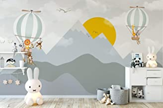 Murwall Kids Wallpaper Mountain Wall Mural Sunrise Wall Print Hot Air Balloon Wall Art Nursery Wall Decor Childroom Play Room
