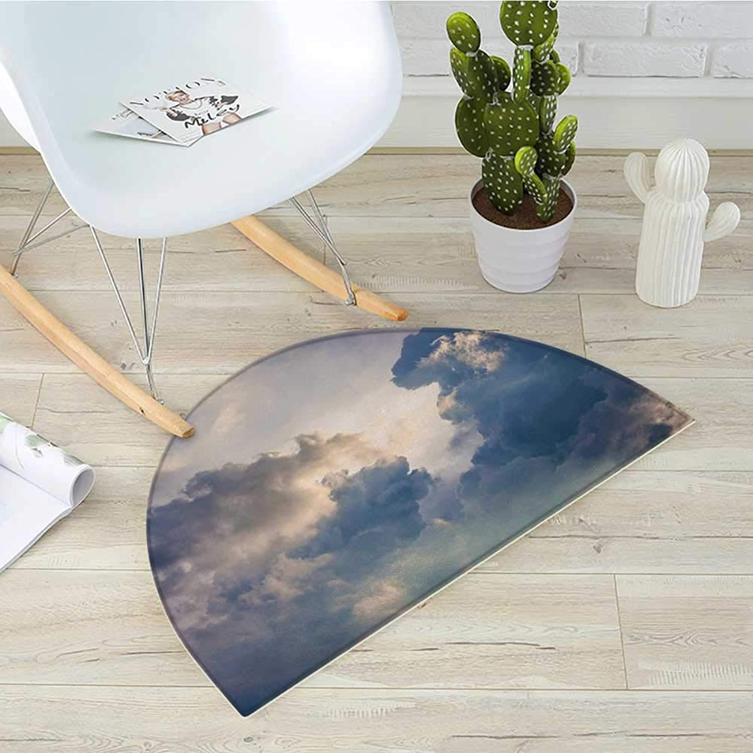 Clouds Semicircle Doormat Majestic Rain Storm Clouds Over The Sky High Above The Ground Environment Scenery Halfmoon doormats H 39.3  xD 59  bluee White