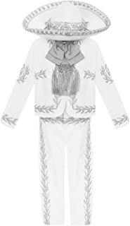 White Silver Boys Baptism Outfit Our Lady of Guadalupe Virgin Mary Charro Mariachi Suit Set Hat Wedding Toddler Kids