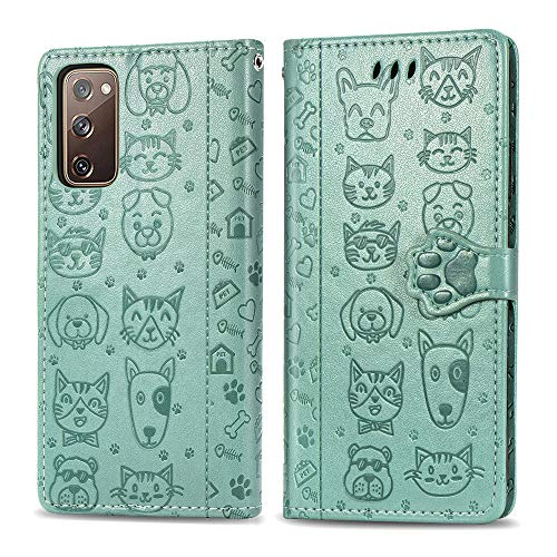 COTDINFOR Compatible with Samsung Galaxy S20 FE 5G Case Wallet Cute with Card Slots Flip Case for Girls Women Cat Dog Embossing Shockproof Case for Samsung Galaxy S20 FE 5G / S20 Lite Green SDM