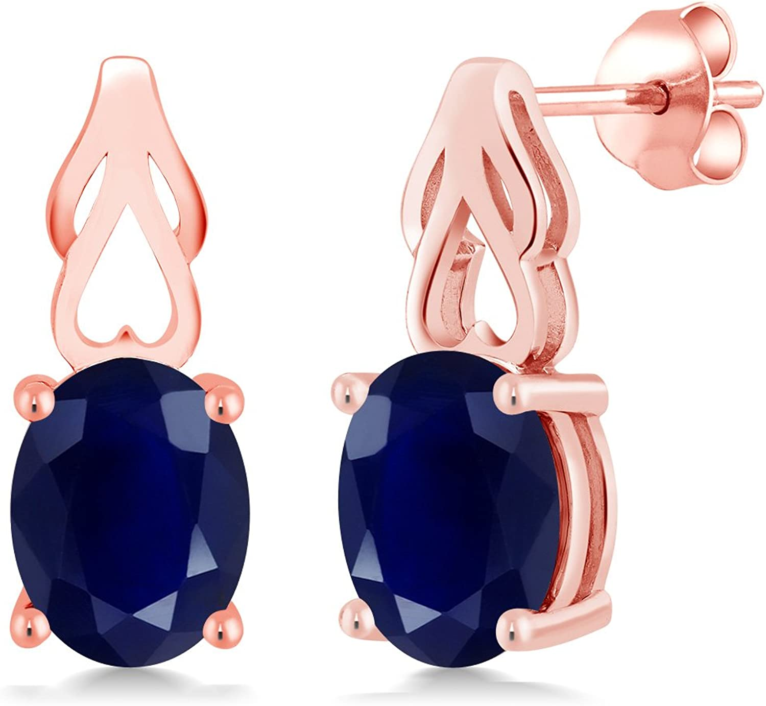 5.00 Ct Oval bluee Sapphire 18K pink gold Plated Silver Earrings