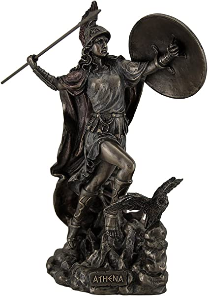 Athena Greek Goddess Throwing Javelin Statue Sculpture Minerva
