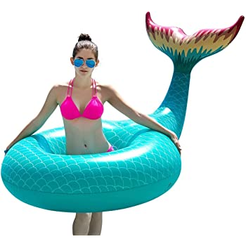 Jasonwell Giant Inflatable Mermaid Tail Pool Float Pool Tube with Fast Valves Summer Beach Swimming Pool Party Lounge Raft Decorations Toys for Adults Kids (Green)