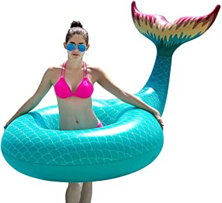 Jasonwell Giant Inflatable Mermaid Tail Pool Float Pool Tube with Fast Valves Summer Beach Swimming Pool Party Lounge Raft...