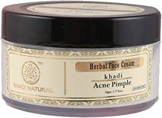 Khadi Ayurvedic Acne Pimple Cream - 50g, Treats Pimples, Acne, Breakouts, Makes Skin Soft, Smooth, Clear, Nourished, Radiant, For Dry Skin, Oily Skin, Sensitive Skin, For Women & Men