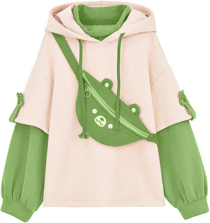 Womens Funny Cute Hoodie Brown Bear Sweatshirt Casual Comfy Long Sleeve Sweaters Fashion Blouse Tops