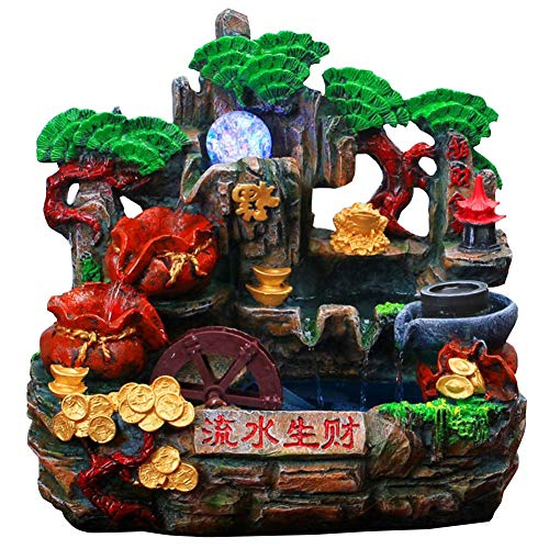 aasdf Tabletop Fountain Waterfall Indoor, Feng Shui Wealth Tabletop Zen Meditation Waterfall Decorative, Best Gift for Business Opening,A