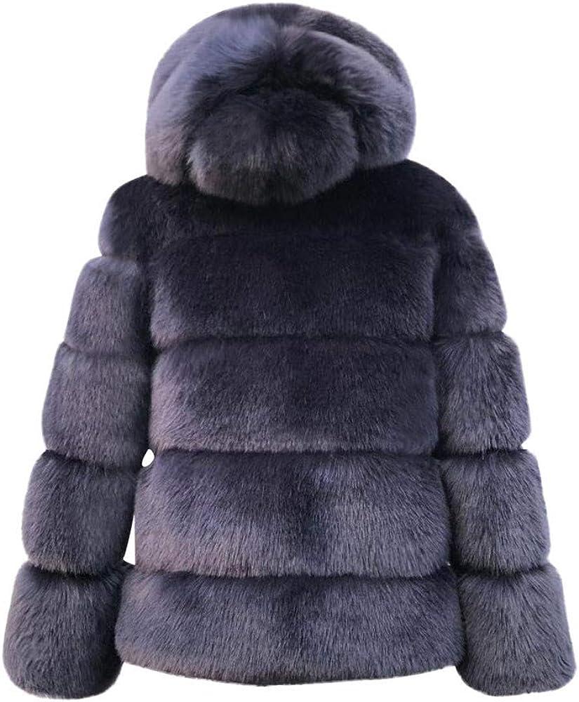 Yoyorule Women's Winter Warm Coat Women Faux Mink Winter Hooded New Faux Fur Jacket Warm Thick Outerwear Jacket