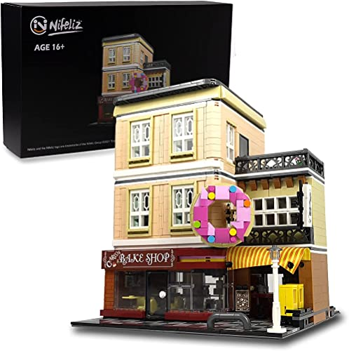 lowest Nifeliz Street Bake Shop MOC Building Blocks and Engineering Toy, Construction Set to Build, Model Set and Assembly Toy outlet sale for Teens and Adult(2919 wholesale Pcs) outlet sale
