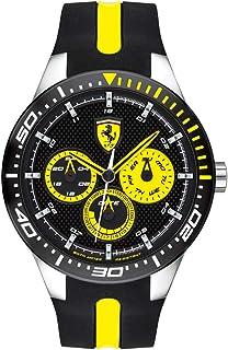 Ferrari RedRev, Quartz Stainless Steel and Silicone Strap Casual Watch, Black, Men, 830585