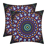 VIPbuy Pack of 2 Soft Square Throw Pillow Cases Sofa Cushion Covers with Double Sided Print- 18 x 18 inches -No Insert-Bohemian Mandala Theme