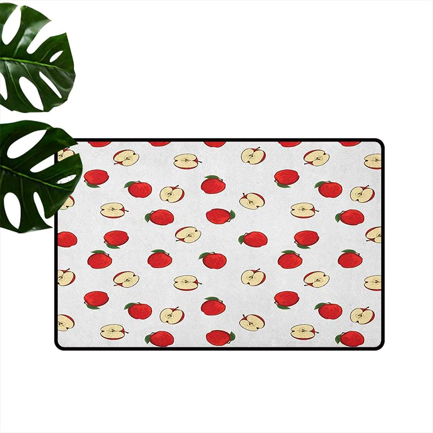 Apple Fashion Door mat Hand Drawn Vibrant Fruit Slices Products of Summer Harvest Picnic Themed Nature Hard and wear Resistant W35 x L59 Eggshell Red
