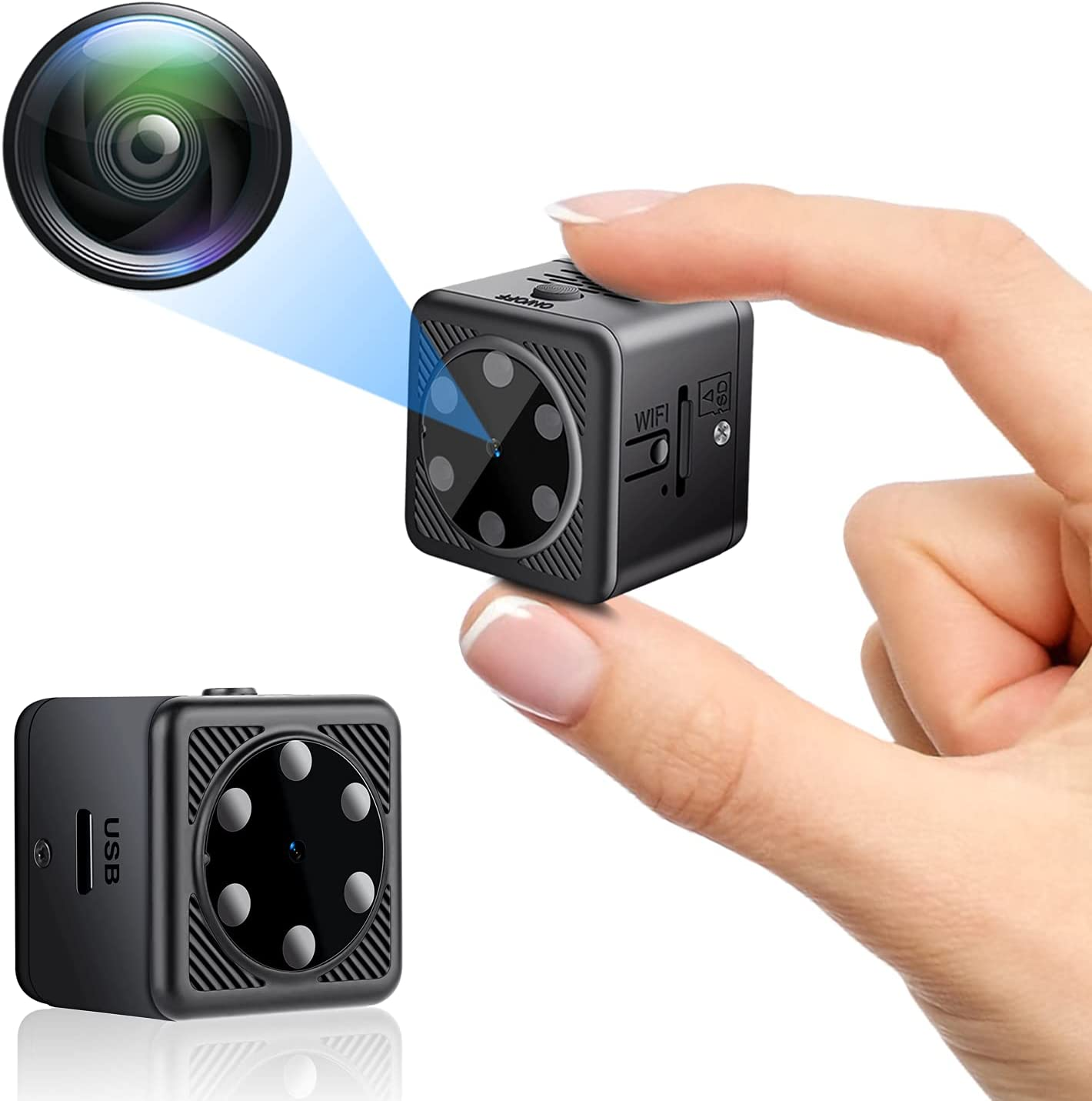 Mini Spy Cameras Hidden, Anviker P2P Camera 1080P HD Small Portable Wireless Covert Tiny Nanny Cam(10 Meters), Home Security Surveillance Camera with Night Vision