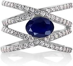 Gem Stone King Blue Sapphire 925 Sterling Silver Women's Criss Cross Ring For Women 2.72 Cttw Oval Gemstone Birthstone (Av...
