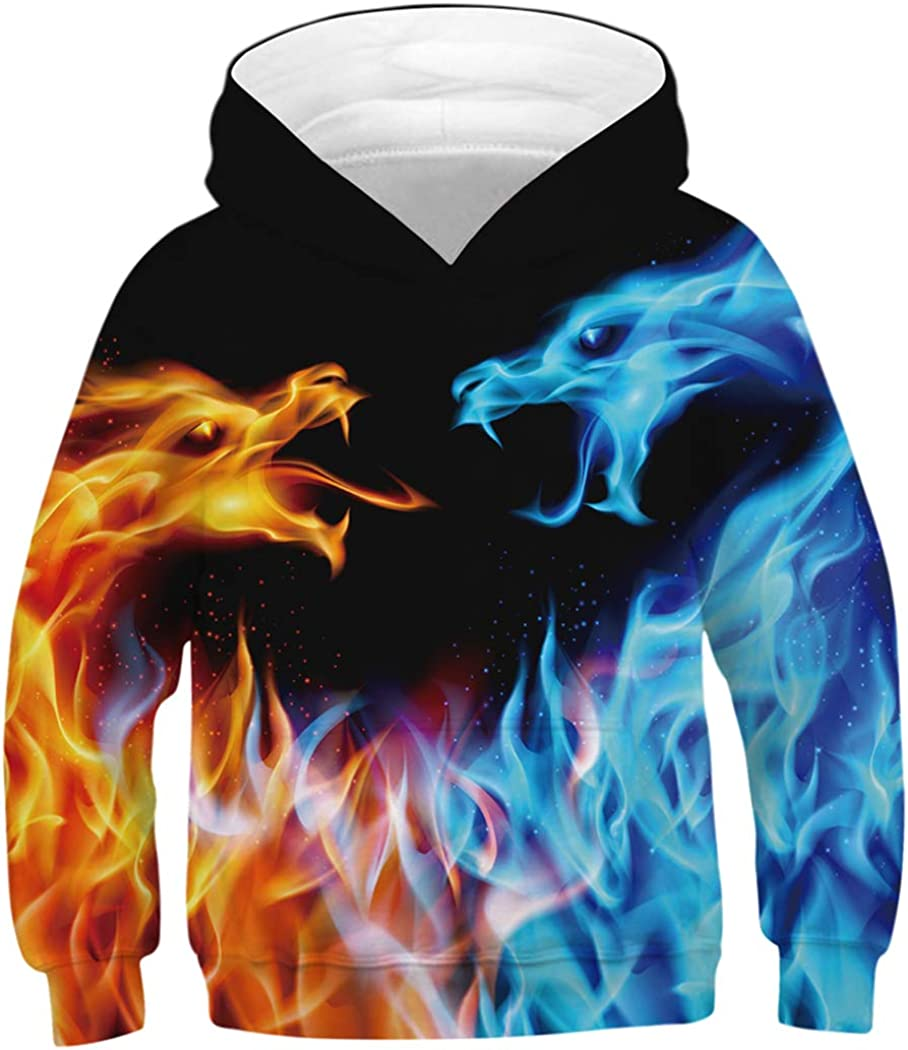 HaniLav Boys Girls 3D Galaxy Casual Pullover Hood Clearance SALE Max 53% OFF Limited time Printed Pocket