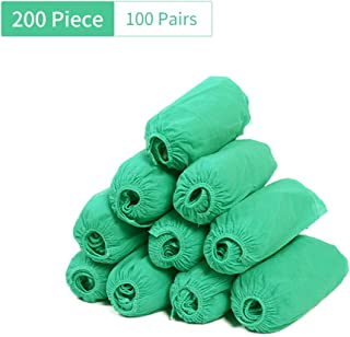 Shoe Covers Disposable Non Slip -200 Piece(100 Pairs), Durable Shoe Covers, Indoor Outdoor Protect Your Home Floors,up to US 9.5(Green) 17X38cm