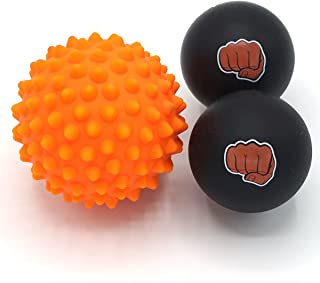 WOD Nation Massage Ball Set - 2 Solid Rubber Lacrosse Balls and 1 Trigger Point Deep Tissue Spiky Ball - Perfect for Self Myofascial Release - Includes a Convenient Travel Bag