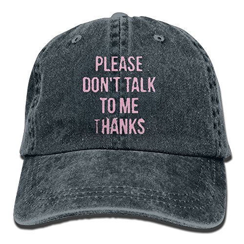 YISHOW Please Don't Talk To Me Thanks Adjustable Washed Cap Cowboy Baseball Hat Navy
