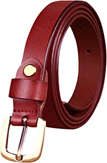 uxcell Women Leather Belt Skinny Gold Buckle Adjustable Thin 3/4 Width