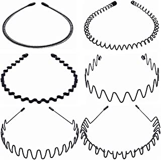 MWOOT 6 Pezzi Cerchietto per Capelli in Metallo per Uomo/Donne/Unisex, Cerchietti Cinturino per Capelli Ondulati Nero