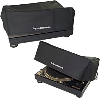 TECHNICS Turntable Dust Cover for SL-1200 / SL-1210 & Pioneer PLX-1000 Record Player Protector [Water Resistant, Antistatic, Black Premium Fabric] by DigitalDeckCovers