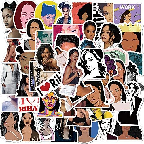 LVLUO Superstar Hip-Hop Cantante Rihanna Pegatina portátil DIY Motocicleta Equipaje Guitarra monopatín Doodle Pegatina calcomanía Juguetes para niños 50 Uds