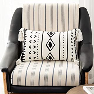 HMKEY TOYS Lumbar Pillow Cover Black White Geometric Woven Decorative Throw Pillow Case with Tassels Rectangle Cushion Cover for Couch Home Sofa Car Chair Bedroom,12 x 20 Inch(Cover Only,No Insert)