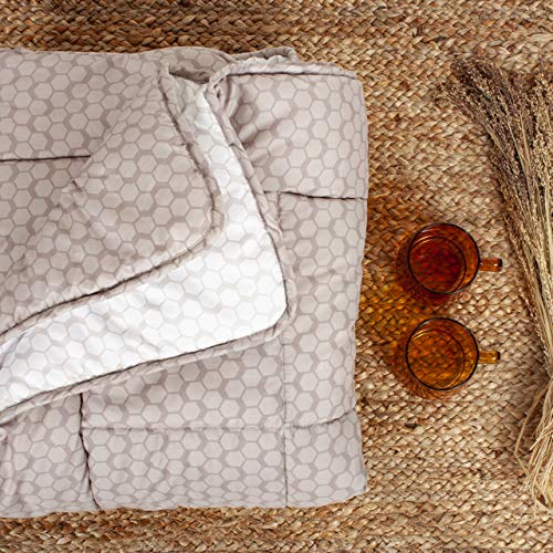 Arctic Edredón reversible Echo – Extra ligero y transpirable microfibra edredón con relleno de fibra hueca, apto para alérgicos, Oeko-Tex Standard 100, beige – 135 x 200 cm