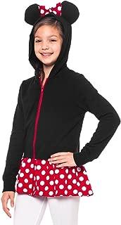 Minnie Mouse Girls Sweatshirt Zip Jacket Costume Ears Ages 4-12