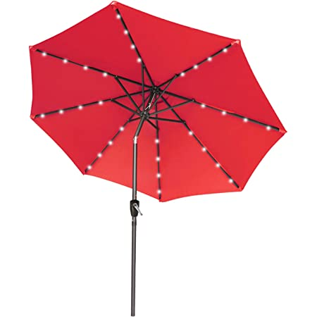 9FT Patio Umbrella Ourdoor Solar Umbrella LED Umbrellas with 32LED Lights, Tilt and Crank Table Umbrellas for Garden, Deck, Backyard and Pool,12+Colors, (Red)