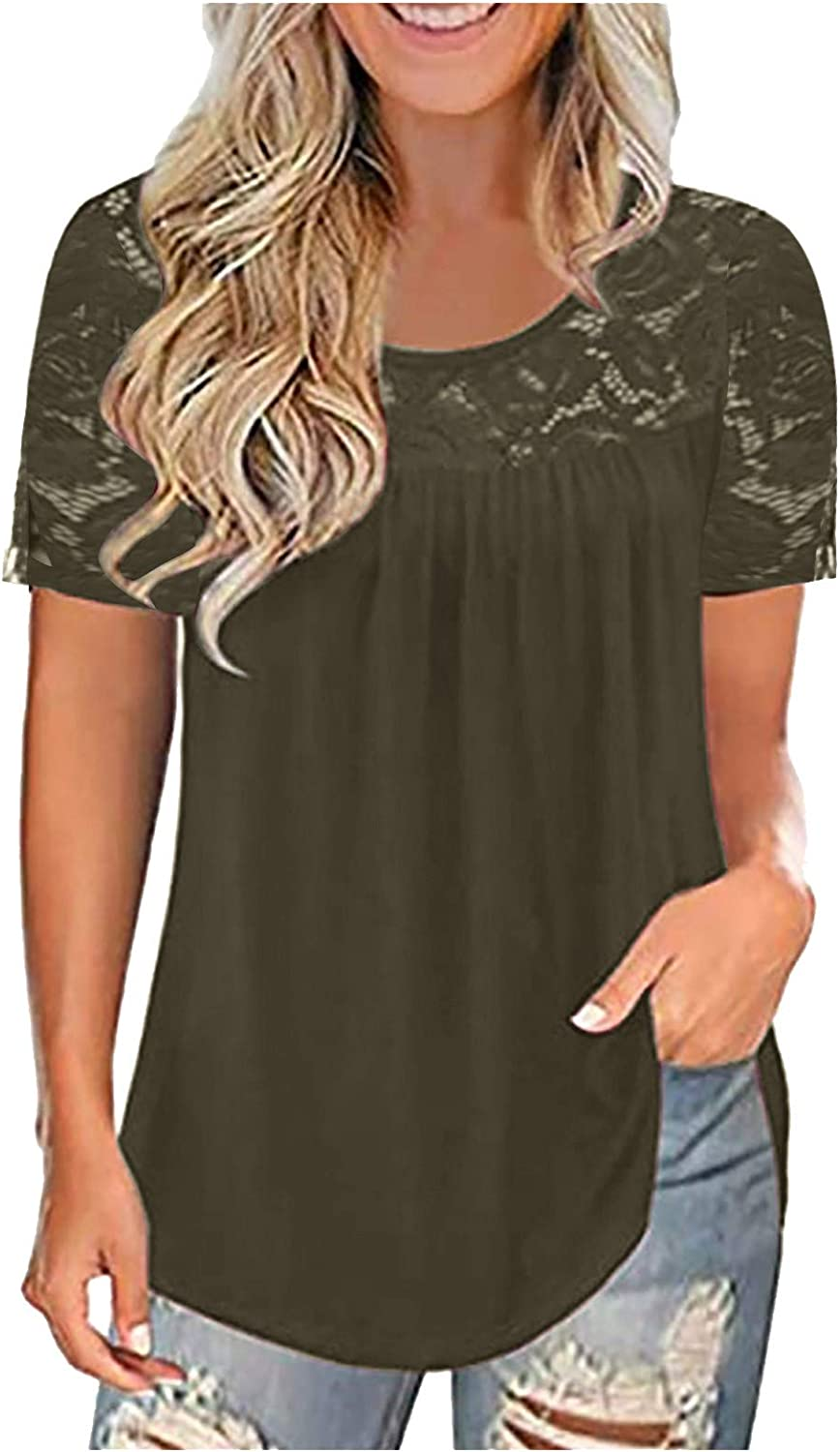 Womens Summer Tops,Womens Fashion Short Sleeve Shirts Lace Neck Tshirts Casual Workout Basic Tees Blouse Summer Tops