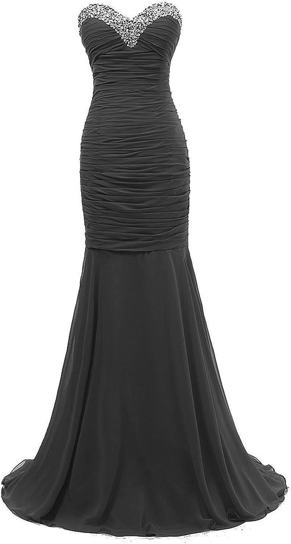 Bonnie clothing Women's Black Sexy Mermaid Evening Party Long Prom Dress