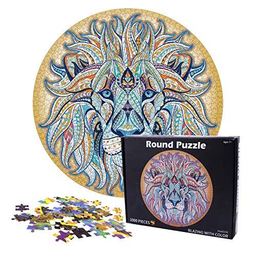 Herefun 1000 Teile Runde Puzzle, Jigsaw Puzzle 65x65cm, Puzzle Erwachsene Impossible Puzzle, Buntes DIY Runde Puzzle, Stressabbau-Spiel Puzzle Geschenk Für Erwachsene Kinder (Löwe)