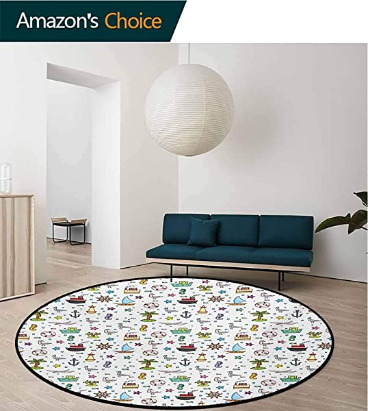 RUGSMAT Kids Modern Machine Washable Round Bath Mat Nautical Cartoon Elements Ships Flying Birds Buoy Starfishes Palm Trees And Bubbles Non Slip Soft Floor Mat Home Decor Diameter 59 Inch