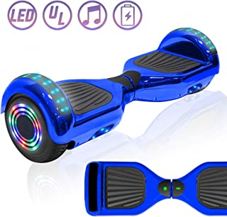 NHT Chrome Edition Self Balancing Hoverboard Scooter with LED Lights and Speaker UL2272 Certified (Chrome Blue)