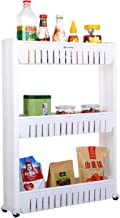 Home-Man Laundry Room Organizer, Mobile Shelving Unit Organizer with 3 Large Storage Baskets, Gap Storage Slim Slide Out Pantry Storage Rack for Narrow Spaces