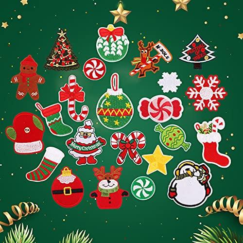 23 Piezas Parches de Navidad Para Planchar Parches Ropa Termoadhesivos Parche Bordado Aplique Pegatinas Decorativos para Coser Reparar para Navideñas Costura Pantalon Camiseta Jeans Bolsas Decoración ⭐