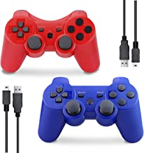 $21 » PS3 Controller Wireless, Gaming Remote Joystick for Playstation 3 with Charger Cable Cord (Red, Blue)