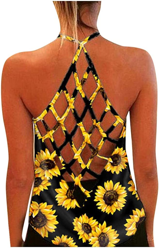 Womens Tank Tops, Racerback Tank Tops for Women Sexy Hollow Out Camis Backless Shirts Loose Fit Casual Summer Halter Top