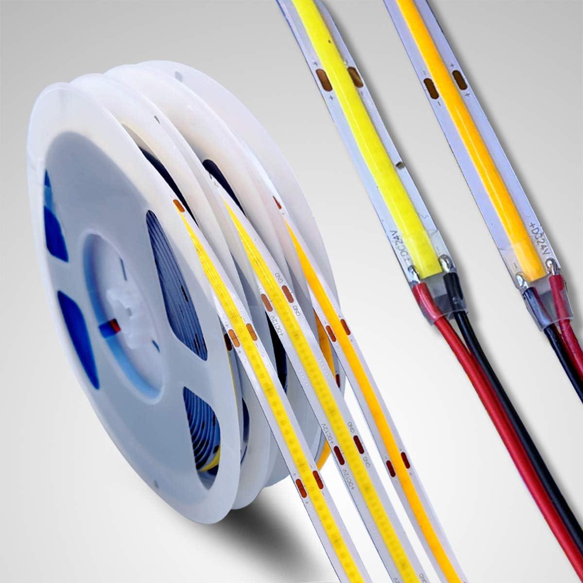Tira de LED COB de 12V de 5m 384LEDs/M,3000K LED blanco frío cinta lineal de alta densidad FOB flexible tira de luces LED para fiestas, mostrador, estante, decoración del hogar